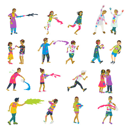 Happy holi set of 20 children characters playing holi. Vector set of characters. Cartoon flat style. Illustration
