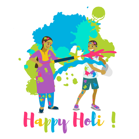 Children playing holi .Happy holi festival greeting card and vector design. Colorful illustration cartoon flat style with spashes of paints Stock Vector - 95917897