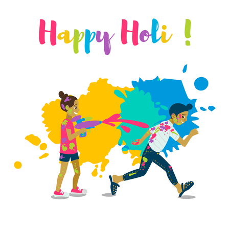Children playing holi .Happy holi festival greeting card and vector design. Colorful illustration cartoon flat style with spashes of paints. Stock Vector - 95927547