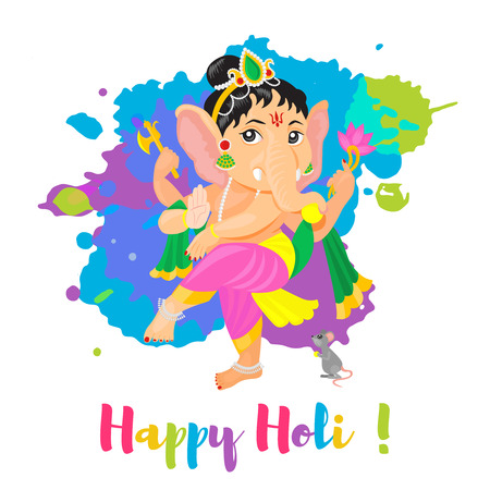 Happy Holi Holiday poster with Lord Ganesha God. Colorful flat cartoon style illustration. Vector illustration Stock Vector - 95992674