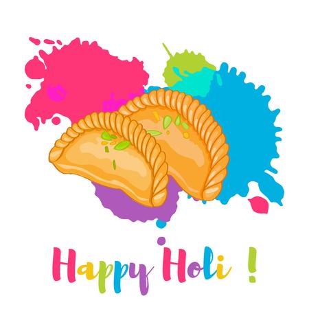 Happy Holi colorful card design vector illustration Illustration