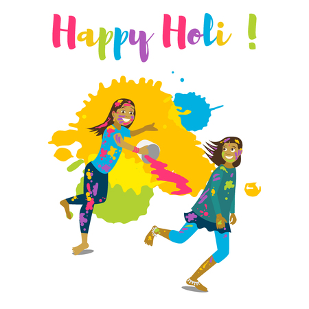 Children playing holi, Happy holi festival greeting card and vector design. Colorful illustration cartoon flat style with splashes of paints.