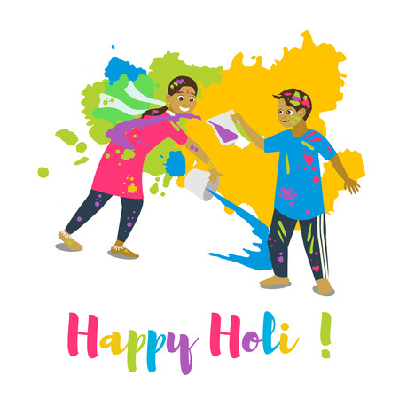 Children playing holi, Happy holi festival greeting card and vector design. Colorful illustration cartoon flat style with splashes of paints. Stock Vector - 96114410