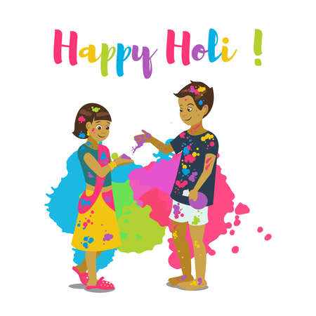 Children playing holi .Happy holi festival greeting card and vector design. Colorful illustration cartoon flat style with spashes of paints. Stock Vector - 95994073