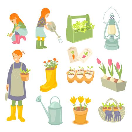 Mother and daughters gardener Stock Vector - 97386262
