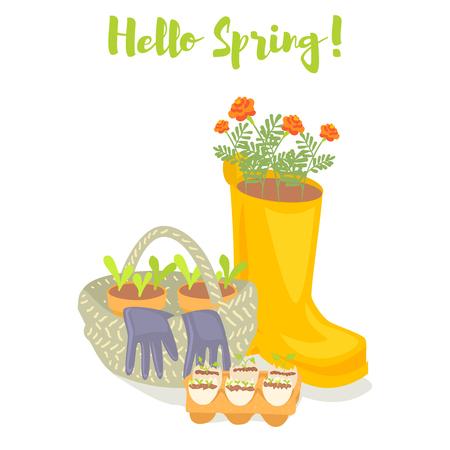 Hello spring gardening banner. Rubber boot, basket, gloves, seedlings and marigold flowers. Cartoon vector illustration. Illustration