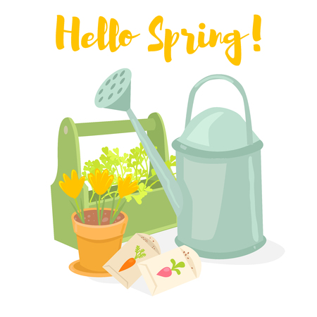 Hello spring gardening banner. Watering can, box with herbs, pot with crocuses, seeds. Cartoon vector illustration Stock Vector - 97388701