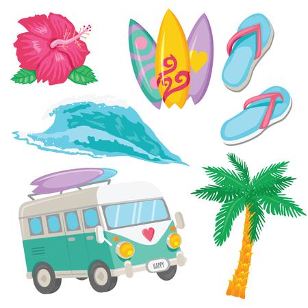 Set of colorful Surfing objects for web design or prints. Tropical flower, surfboards, van, wave, palm, flops Illustration