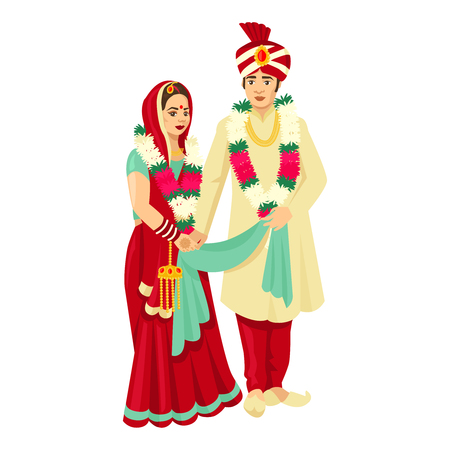 Indian wedding couple in traditional dresses. Vector design for wedding invitation, web design, prints. Stock Illustratie