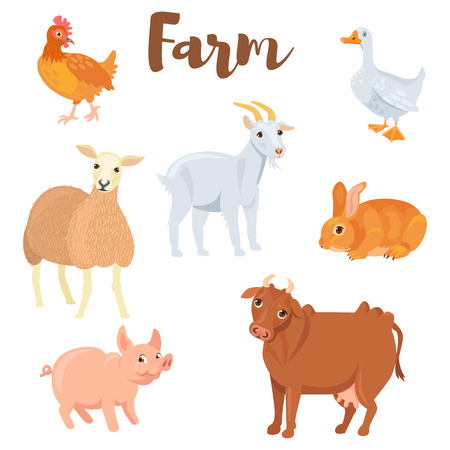 Farm animals set in flat style isolated on white background.