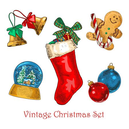 Christmas vintage set of bells, christmas sock with gifts, gingerbread, water globe, christmas decorations Stock Vector - 128778452