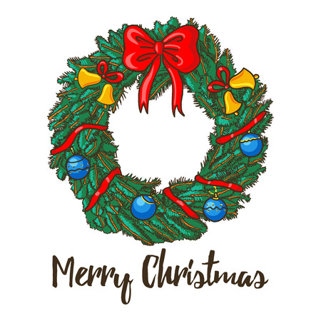 Christmas wreath with ribbon, bells, balls. Merry Christmas card with decorated wreath