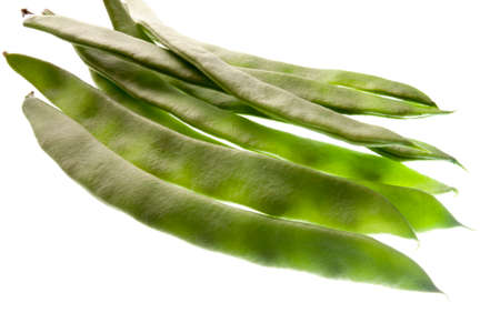 medium group: Green beans isolated on white background Stock Photo