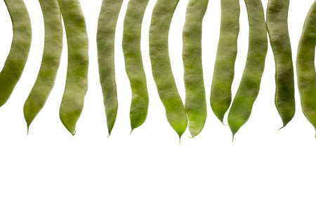 medium group of objects: Green beans isolated on white background Stock Photo