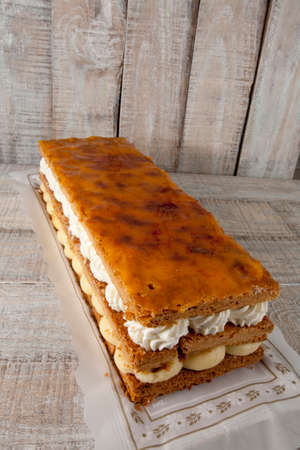 custard slice: Napoleon Pastry. This style of pastry is also known as Mille-feuille, custard slice, slice, and cream slice.
