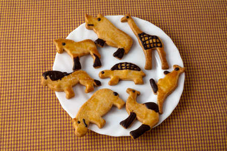 medium group of objects: Animal shaped cookies in white plate on checkered tablecloth