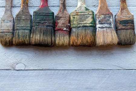 medium group of objects: Old Brushes photographed from above with room for text Stock Photo