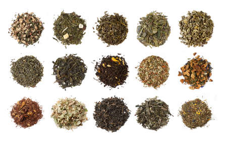 medium group of people: Fifteen varieties of tea on white background