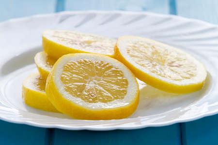 lemon slices: Lemon slices on plate Stock Photo