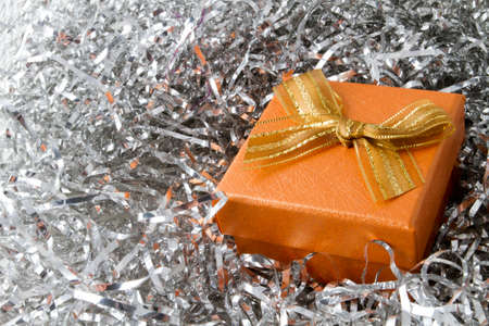 christmas gift box: Christmas gift box orange Stock Photo