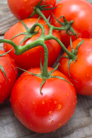 saturated color: Vine tomato on rustic wooden background