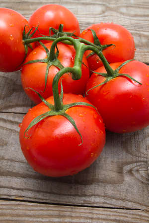 medium group: Vine tomato on rustic wooden background