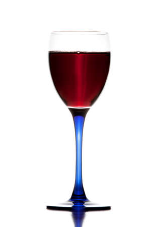 redwine: Single glass of red wine on white background. Stock Photo