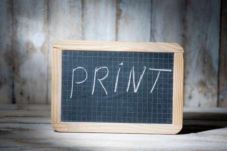 buzzword: Print buzzword written on blackboards Stock Photo
