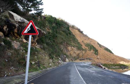 mud slide: Landslide on road traffic signal