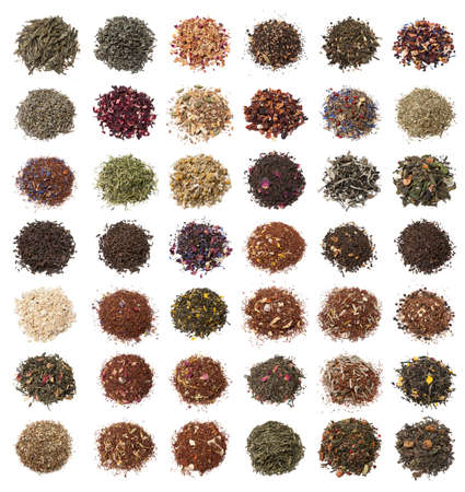 forty: Forty two varieties of tea on white background