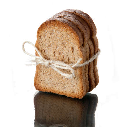 small group of objects: Toast tied with rope with white background Stock Photo