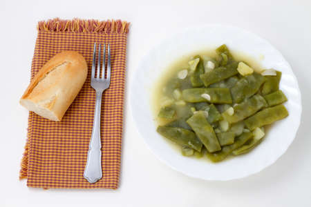 small group of objects: Green beans with potatoes on white background Stock Photo
