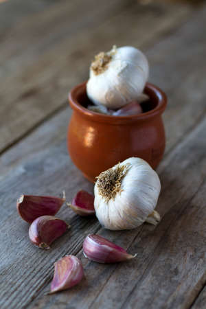 foreground: Garlics on rustic wood with focus on foreground