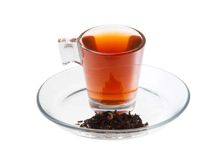 red tea: Red tea with leaves on white background.