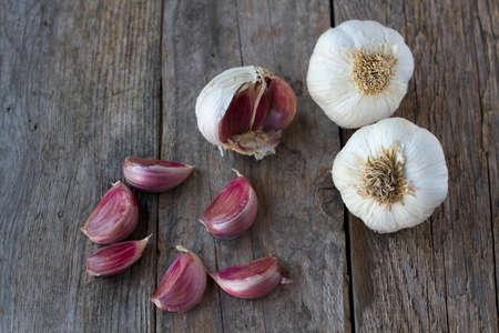 rustic: Garlics on rustic wood