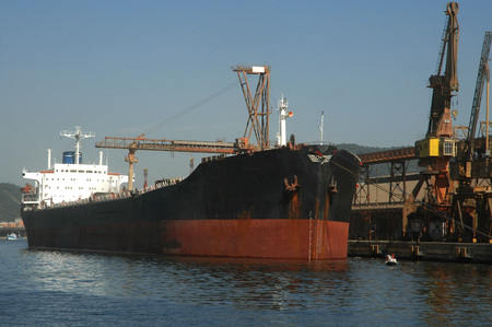 Large grain ship docked at Port of Santos harbour. Stok Fotoğraf