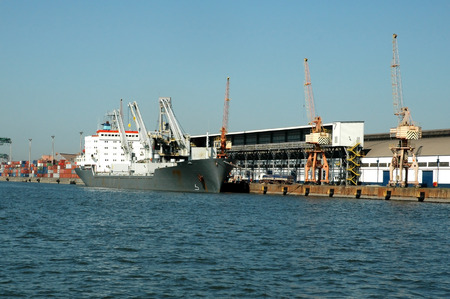 Large container ship in a dock at Port of Santos harbor.