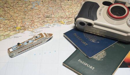 Brazilian shore map with cruise ship miniature, passatorts and camera. Stock Photo