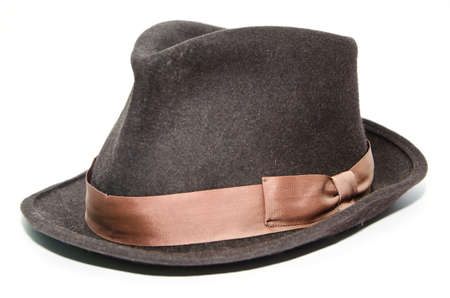 personally: Classic men hat on a white background Stock Photo