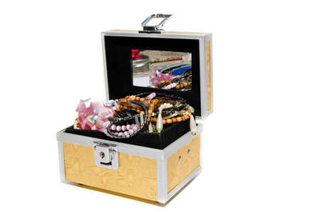 Open Jewelry Box on White Background photo