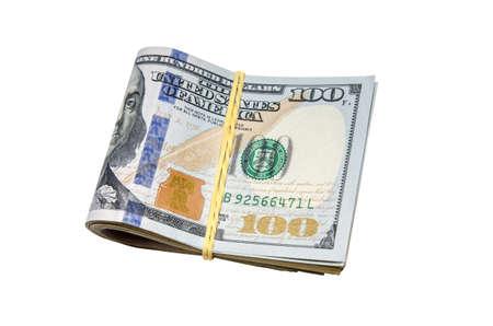 dollaro: Legato dollari isolato su sfondo bianco Archivio Fotografico