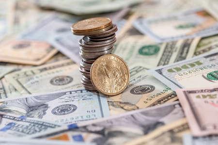us coin abobe dollar banknote. close up Stockfoto