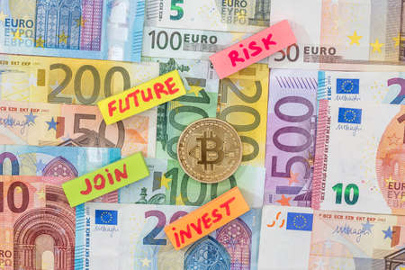 new crypto currency - bitcoin with eoro banknote
