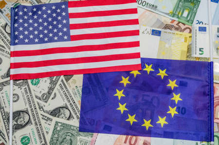flag europe and dollar with banknotes Stok Fotoğraf