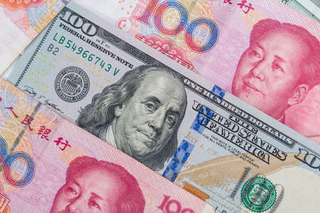 Close up of foreign currency banknotes as background.