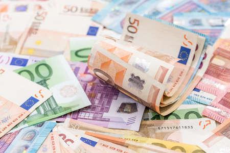 Many different euro banknote as background. Reklamní fotografie