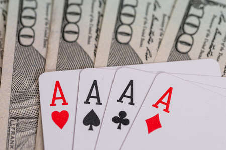four poker aces with us dollar 写真素材 - 160038047