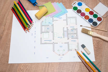 architectural plan of the house with color palette, pencil and fabric samples Stockfoto