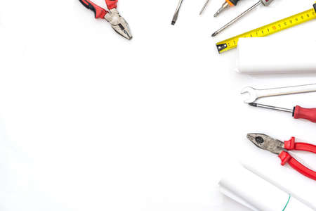 different work tools isolated on white. close up