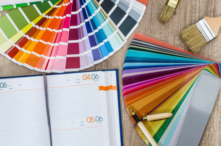 Repair plan with diary and color swatches
